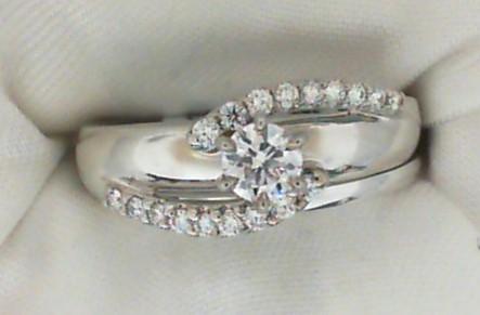 2/5 Ct twt, 14k White Gold Bridal Set containing one 0.23 Ct G/H VS2, 0.41 twt