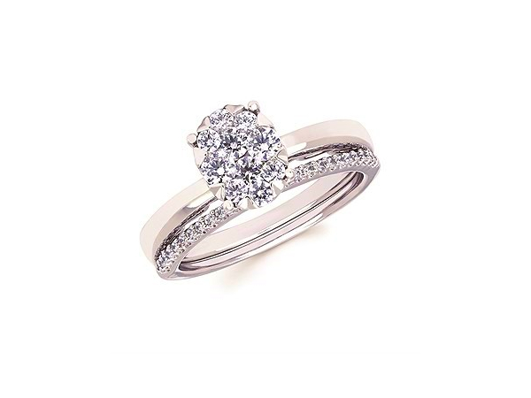 1/2 Ct twt, 14k White Gold Enclosed Halo Diamond Ring  containing 0.52 twt, band sold separately