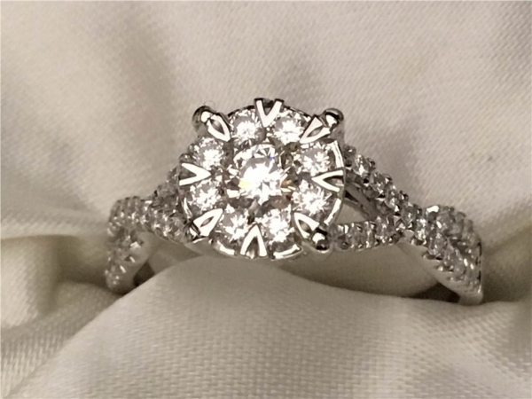 3/5 Ct twt, 14k White Gold Love Bright Enclosed Halo Engagement Ring contining 0.60 twt of Diamonds