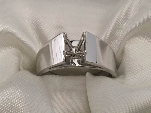 White Gold 14k Engagement Ring Mounting Will Accommodate a 5/8 Ct Round Stone