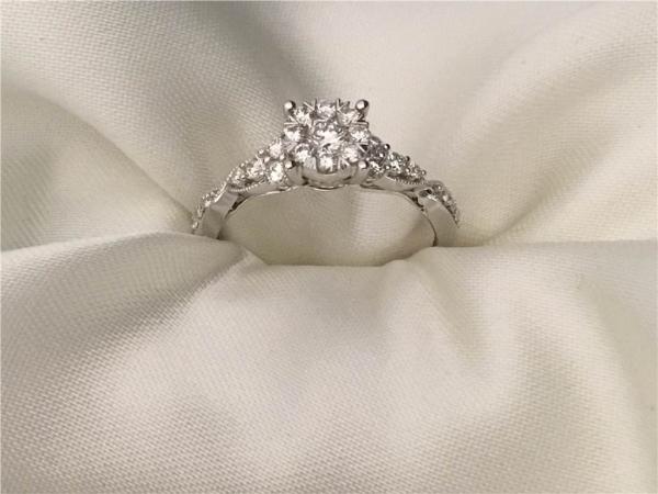 1/2 Ct twt, 14k White Gold Love Bright Diamond Engagement Ring containing 0.55 twt of Diamonds