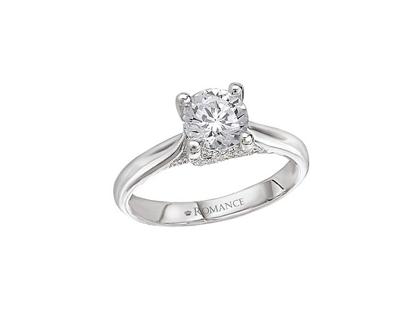 3/8 Ct twt, 14k White Gold Diamond Engagement Ring  containing one 1/3 Ct Round Center Diamond