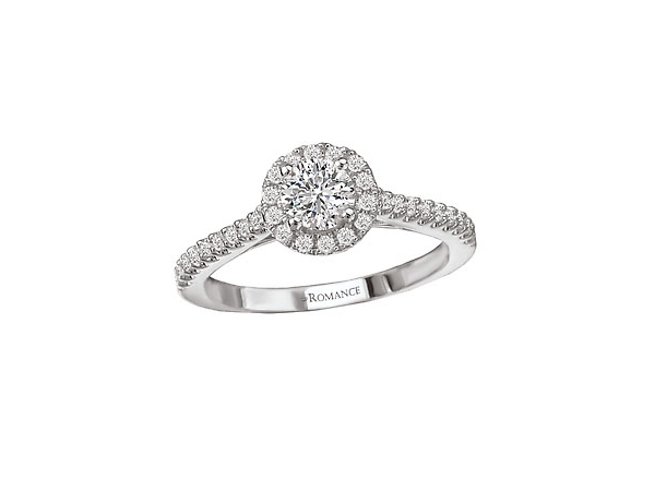 3/5 Ct twt, 14k White Gold Diamond Engagement Ring  containing one 0.37 ct Round Diamond,  0.62 twt