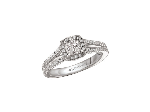 3/4 Ct twt, 14k White Gold Diamond Engagement Ring  containing one 1/2 Ct Center Diamond