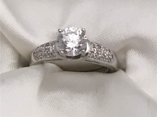 Sample Prototype Mounting will fit 1.00 Ct, Priced as 14k White Gold Ring with 1 Ct Round CZ  Center Stone and 1/4 twt side Diamonds Prices vary according to Diamond size. Center Diamond sold separately