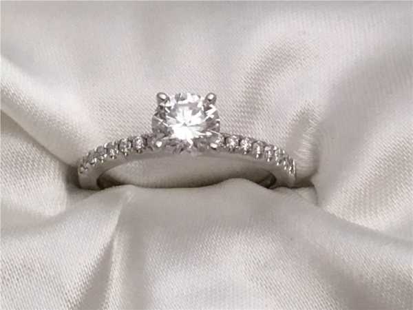 "1.00 Ct, 14k White Gold""Grown Above Earth"" Diamond Engagement Ring containing 1.01 Ct Center Diamond with 0.15 twt of Side Diamonds"