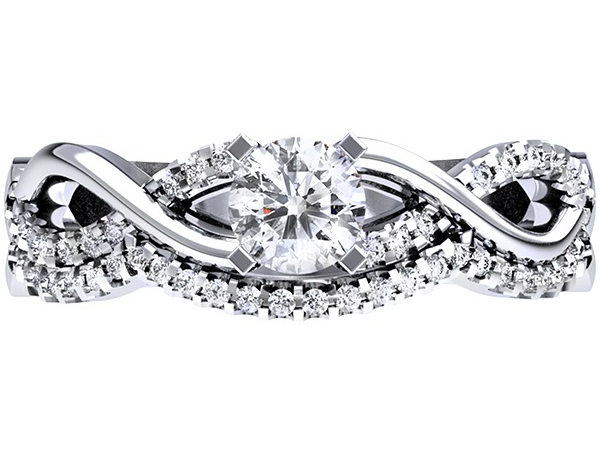 Diamond 14k White  Gold Semi-Mount Engagement Ring This Ring will accommodate a 5mm or 1/2 Ct Round Stone This Set Containins 1/10 twt of Diamonds