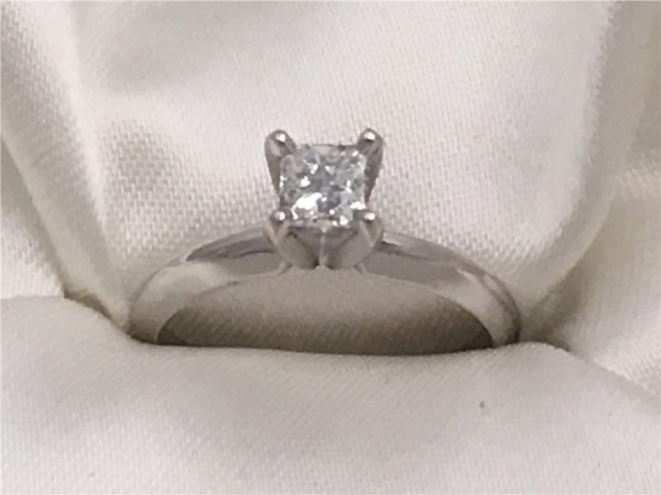 1/2 Ct, 14k White Gold Princess-Cut Diamond Solitaire containing One Princess-Cut Diamond, 0.50 Ct Clarity I2, Color H