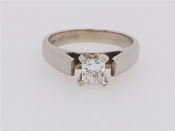 3/5 Ct twt, 14k White Gold Diamond Engagement Ring. containing One 0.62 Ct Princess Cut Diamond, Color G, Clarity SI1