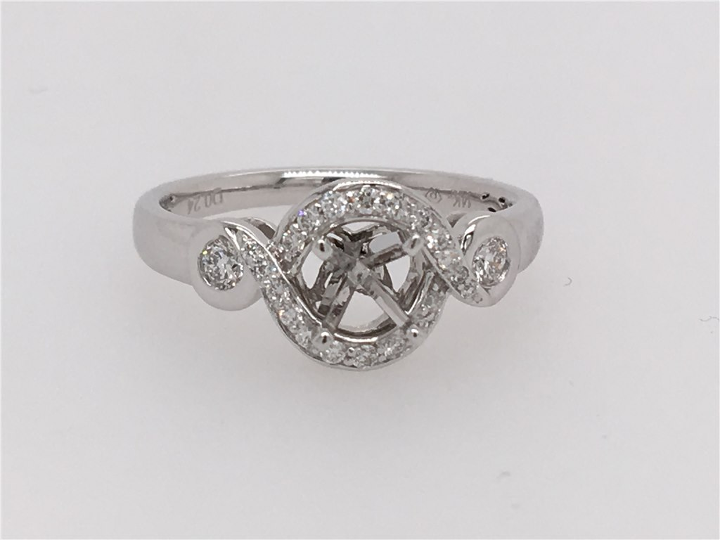 Diamond Semi-Set Engagement Ring that will hold your choice of any 1/2 ct stone. containing 1/4 twt of Diamonds