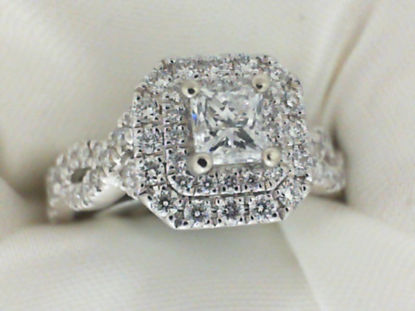1.25ctw 14k White Gold Halo Engagement Ring containing .39ct Princess Cut center diamond Previously Owned/ Estate Piece   Size 7